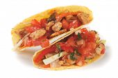 pic of tacos  - Taco shells filled with grilled chicken meat and fresh vegetable salad - JPG