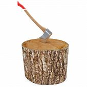 foto of deforestation  - 3d log with axe deforestation concept on white background - JPG