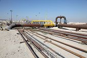 stock photo of bahrain  - Oil and gas pipeline in the desert of Bahrain Middle East - JPG
