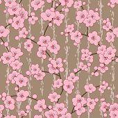 seamless cherry, sakura blossom flowers pattern