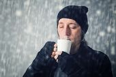 Man Drinking Hot Tea