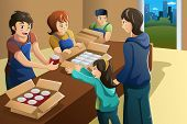 image of food truck  - A vector illustration of team of volunteer working at food donation center - JPG