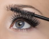 Makeup. Make-up. Applying Mascara. Long Eyelashes