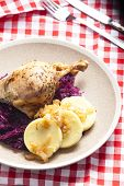 duck meat with potato dumlings and red cabbage