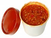 Healthy fast food to go. Spicy chili in a carryout cardboard cup over white.