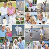 Montage of happy old senior man woman couples people enjoying an active retirement lifestyle on the
