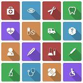 Medical Icons Set mit langen Schatten