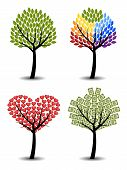 Set Of Trees. Eco, Rainbow, Hearts, Money. Concept Vector Illustration.