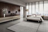 foto of comforter  - A 3D rendering of modern bedroom with floor to ceiling windows - JPG