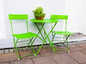 Bright Green Cafe Table And Chairs At Reykjavik Iceland