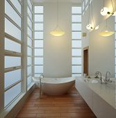 stock photo of tub  - A 3D rendering of light bathroom interior - JPG
