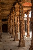 picture of qutub minar  - Wooden Pillars in Qutub Minar Complex  - JPG