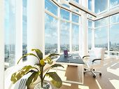 A 3D rendering of modern office interior