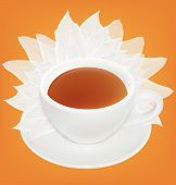 Cup of tea and saucer with a white petals. Vector illustration.