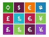Exchange Rate icons on color background.