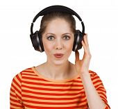 Cheerful Girl Listening To Music On Headphones