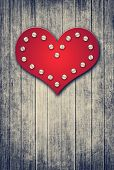 Grunge Valentine Background With Red Heart