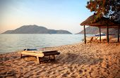 Panorama of a beach in Monkey Bay, Lake Malawi, Malawi, Africa