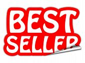 Bestseller Red Sticker Isolated On White Background