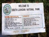 Welcoming sign in South Luangwa National Park, Zambia, Africa