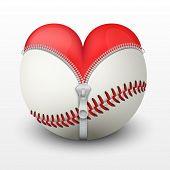 Red heart inside baseball ball