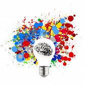 image of stippling  - Creativity 3d metal human brain in visible light bulb with splash colors background as concept - JPG