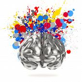 stock photo of stippling  - Creativity 3d metal human brain with splash colors background as concept - JPG