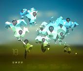 Abstract Vector Polygonal Crystal World Map.