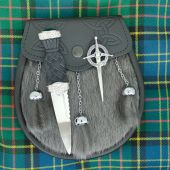 Sporran, Sgian Dubh and Kilt Pin on Tartan