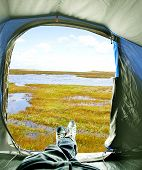 Inside Of Tent With View On Lake