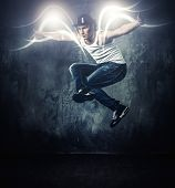 image of break-dance  - Stylish man dancer showing break - JPG