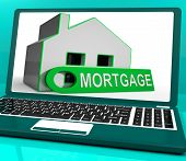 Mortgage House Laptop Shows Owing Money For Property