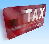 Tax On Credit Debit Card Flying Shows Taxes Return Irs