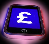 Pound Sign On Mobile Shows British Money Gbp