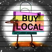 Buy Local Shopping Bag Shows Buying Products Locally