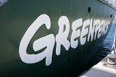 VALENCIA, SPAIN - JUNE 9, 2014: The side of Greenpeace's vessel the