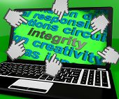 Integrity Laptop Screen Shows Morality Virtue And Decency