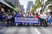New York City Council members with banner