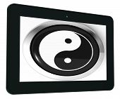 Ying Yang Tablet Means Spiritual Peace Harmony