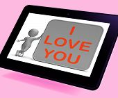 I Love You Tablet Shows Loving Partner Or Family