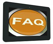 Faq Tablet Shows Frequently Asked Question