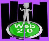 Web 2.0 Pressed Means Internet Version Or Platform