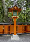Ornamental Orange Wooden Lantern At A Japanese Shinto Shrine, ,  Oil Paint Stylization