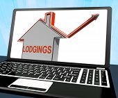 Lodgings House Laptop Shows Accommodation Or Residency Vacancy