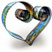 filmstrip in shape of heart