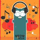 Retro Vector Card With Kitty Listening To Music In Headphones