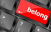 Belong Word On Keyboard Key, Notebook Computer Button
