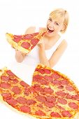 A picture of a woman eating pizza over white background