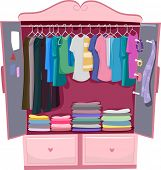 image of armoire  - Illustration of a Pink Wardrobe Full of Women - JPG