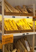 MADRID, SPAIN - MAY 28, 2014: Local Spanish teashop with fresh bread display